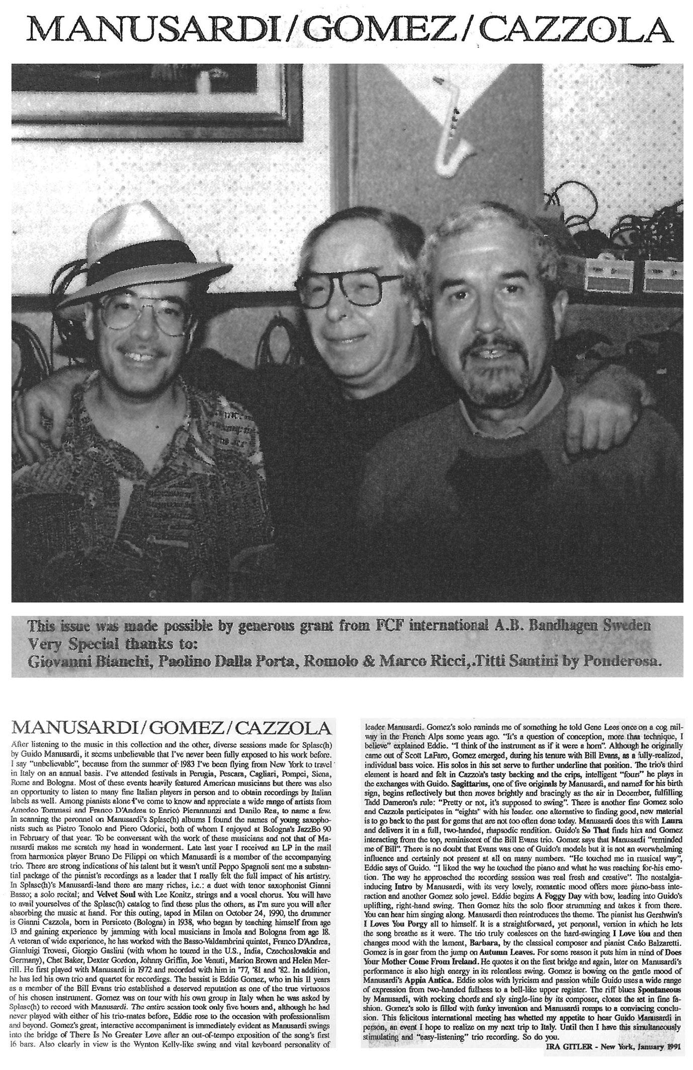MANUSARDI / GOMEZ / CAZZOLLA NEW YORK 1991